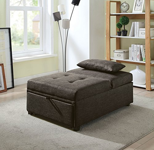 HOMES Inside Out Langston Contemporary Futon Ottoman, Dark Gray