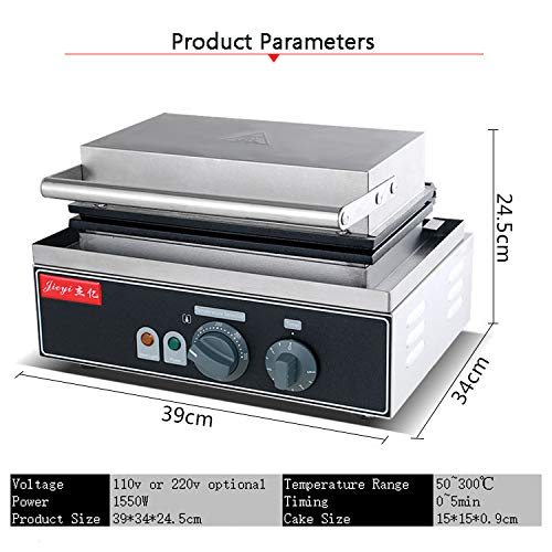 Hanchen Instrument 2 Pces Commercial Electric Panini Press Oven Sandwich Maker Pan Bread Toaster Waffle Iron (FY-113A 110V) by Hanchen Instrument® (Image #7)