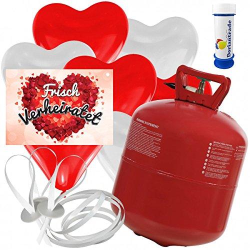 50 Herz Luftballons freie Farbwahl mit Helium Ballon Gas + 50 Weitflugkarten Frisch Verheiratet Rosenblätter + Gratis Doriantrade Seifenblasen 60 ml Hochzeit Valentinstag Komplettset (Rot/Weiß)