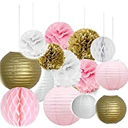 Since Pack of 14 8''(20cm) Gold Pink White Paper Crafts Tissue Paper Honeycomb Balls Lanterns Paper Pom Poms Birthday Wedding Party Decoration
