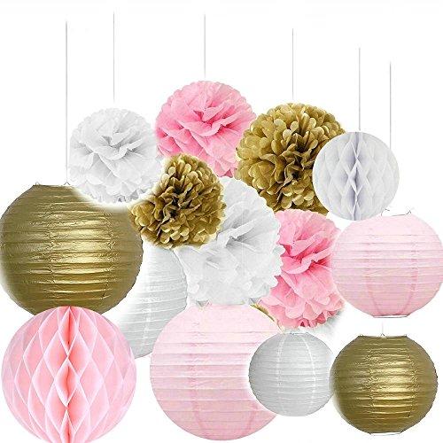 Since Pack of 14 8''(20cm) Gold Pink White Paper Crafts Tissue Paper Honeycomb Balls Lanterns Paper Pom Poms Birthday Wedding Party Decoration (Pink Decorations Wedding)