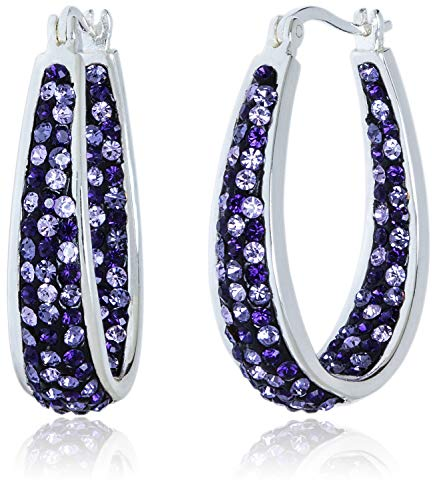 Carly Creations Women's Silver Plated Genuine Crystal Hoop Earring - Purple