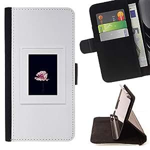 Momo Phone Case / Flip Funda de Cuero Case Cover - Cadre Noir Rose Printemps - Samsung Galaxy S4 IV I9500