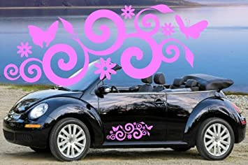 a3d27b902aaa Image Unavailable. Image not available for. Colour  2 x SPIRAL BUTTERFLIES    FLOWERS VINYL CAR DECALS