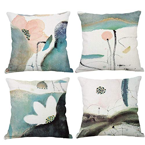 YeeJu Set of 4 Lotus Plant Decorative Throw Pillow Covers Cotton Linen Square Cushion Covers Outdoor Couch Sofa Home Pillow Covers 16x16 Inch