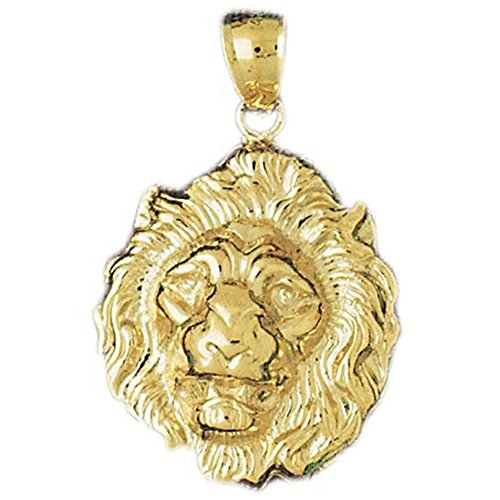 Dazzlers Solid 14 Karats Gold Lion Head Charm Pendant Available in Three Colors From Jewelsberry