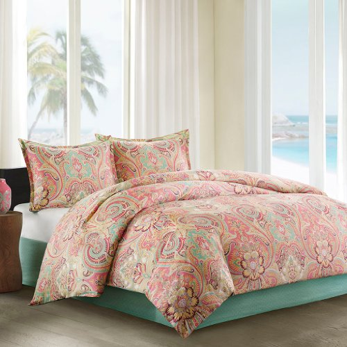 Echo Design Guinevere Queen Size Bed Comforter Set - Coral, Aqua, Reversibe Floral Damask - 4 Pieces Bedding Sets - 100% Cotton Sateen Bedroom Comforters