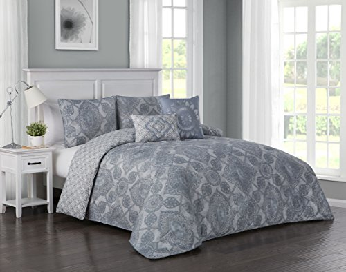 (Avondale Manor Modena 5-Piece Duvet Cover Set, King, Blue)