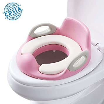 CHILD TOILET SEAT PINK POTTY TRAINING SEAT CHAIR REMOVABLE LID KIDS BABY NEW