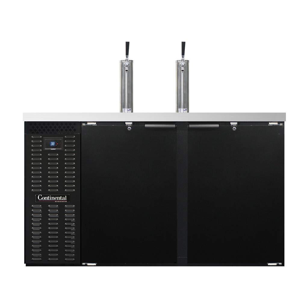 "Continental Refrigerator KC59S Keg Cooler 59""W, Three Keg Capacity, Black Exterior & Shallow Depth"