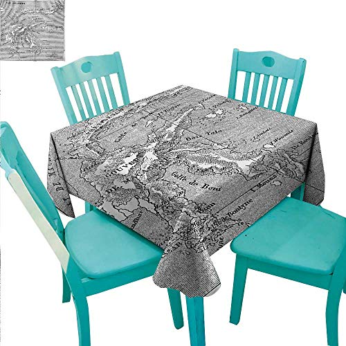 Island Map Elegant Waterproof Spillproof Polyester Fabric Table