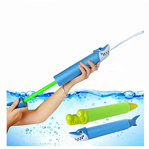 Water Blaster Soaker Pool Toys - Shark Foam Water Gun Shooter Summer Party Outdoor Swimming Pool Beach Games Toys for Toddlers Kids Adults (2 Pack Set) ()
