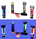 Living Starlight - Glow in the Dark Paint - Uv Fluorescent Blacklight Reactive KIT Rave Makeup Lipstick, Mascara, Body Glitter, Party, Face, Hair Art (Neon Blue, Yellow, Orange, Red, Clear)