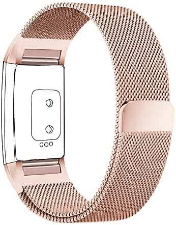 Fitbit Charge 2 Bands Small & Large for Women Men Girls, hooroor Milanese Loop Stainless Steel Metal Bracelet Strap with Unique Magnet Lock, No Buckle Needed for Fitbit Charge 2 (Rose Gold, Small)