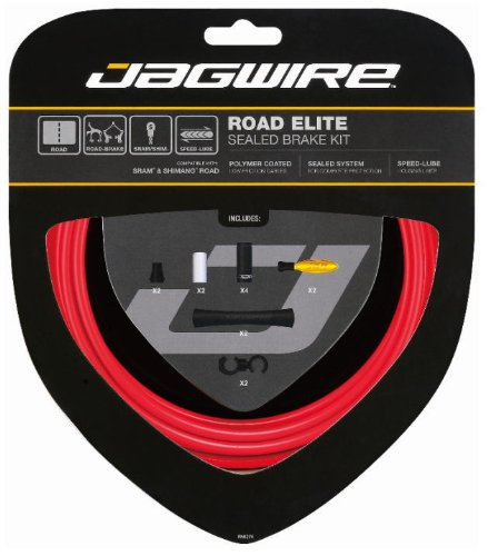Jagwire Road Elite Sealed Bicycle Brake Cable Housing Kit (Red)