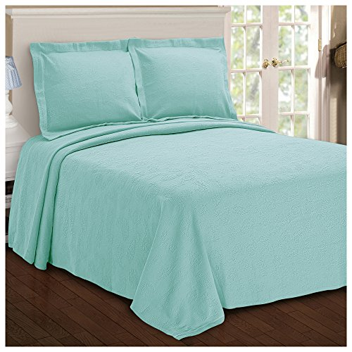Superior Paisley Jacquard Matelassé 100% Premium Cotton Bedspread with Matching Shams, King, Aqua (Quilts Coverlets Aqua)