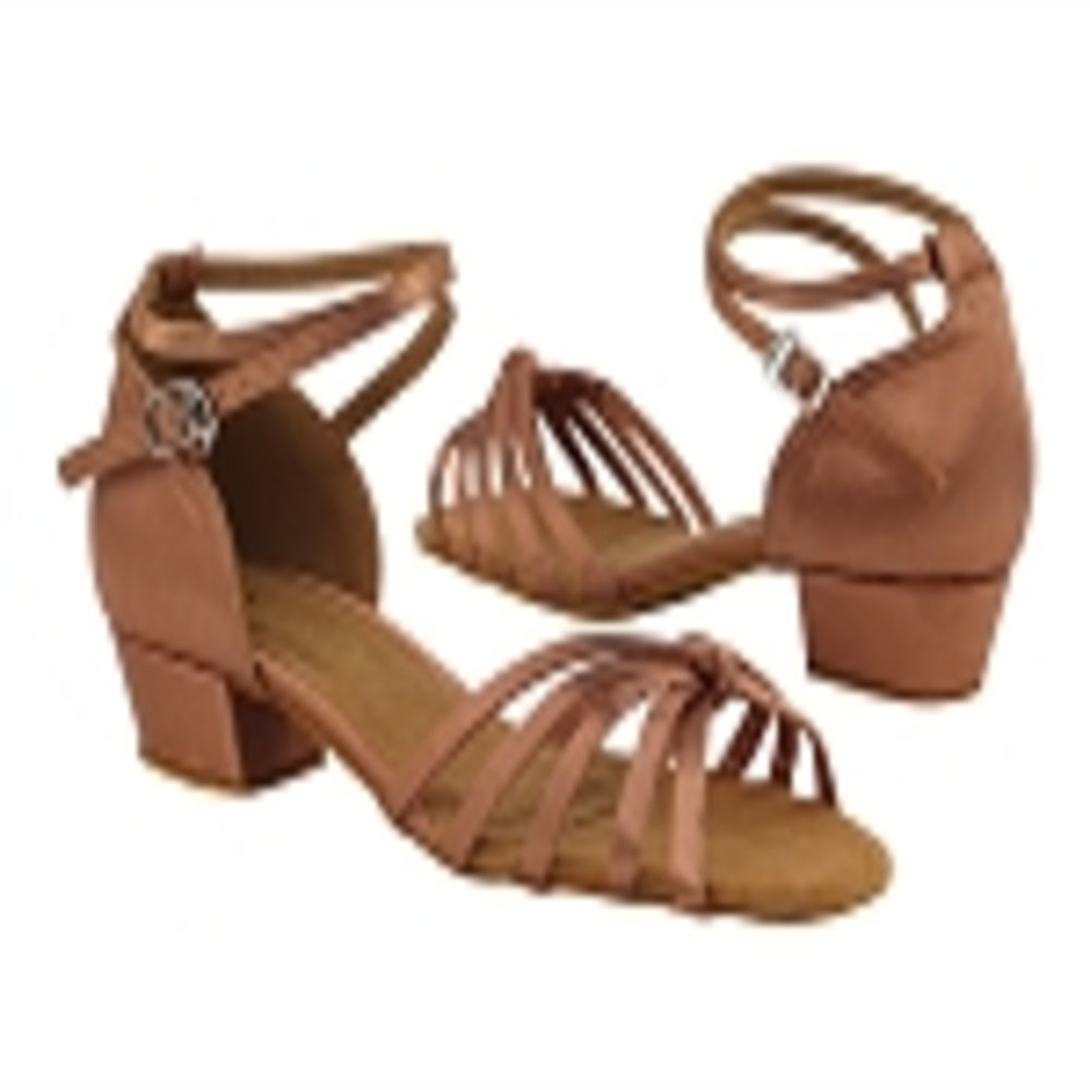 Very Fine Girls Tan Satin Latin Dance Shoe 6005 in size 3.5 girls with 1 inch heel