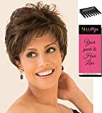 Rina Pixie Style Color Rose Gold - Noriko Wigs Women's Synthetic Short Layered Feathers Side Swept Fringe Bundle with Wig Comb, MaxWigs Hairloss Booklet