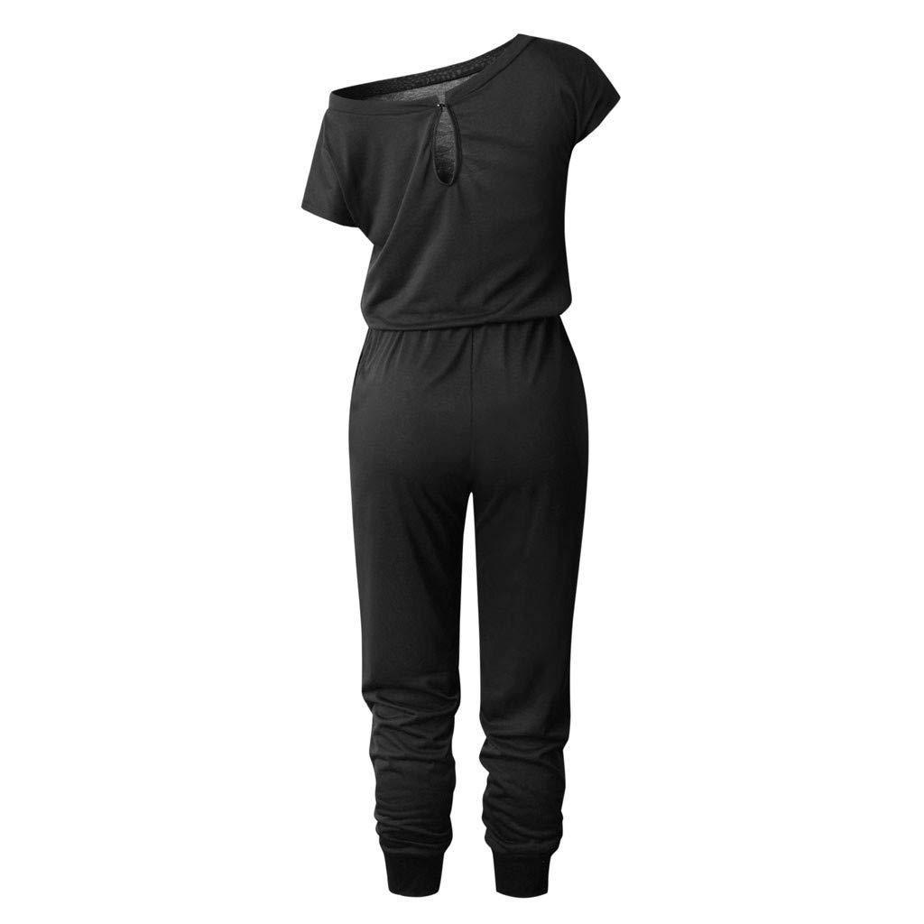 1941597fb173 Amazon.com  VEZAD Women Pocket Off Shoulder Short Sleeve Rompers Jumpsuit  Long Playsuit  Clothing