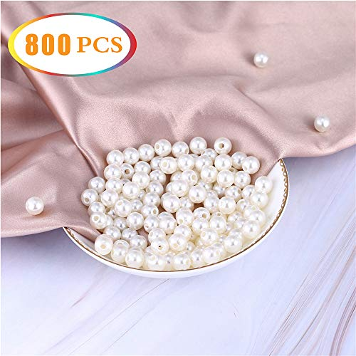 800 Pcs 8mm Round Ivory White Pearl Vase Filler,Beads for Jewelry Making,Plastic Pearls with Hole Loose Spacer Bead,Brushes Holder,Party Decor - Ivory Classic Vases