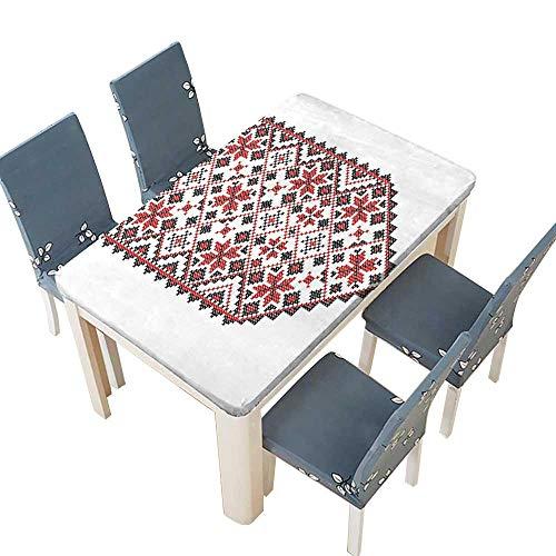 PINAFORE Indoor/Outdoor Ukrainian Embroidery Style Ornamental Nostalgic Artisan Design Dark Brown Kitchen Tablecloth Picnic Cloth W45 x L84.5 INCH (Elastic -