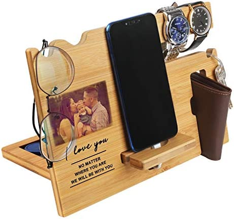 Items for Males – Picket Telephone Docking Station Customized – Engraved Nightstand Organizer with Telephone Stand, Telephone Holder, Accent Holder, Watch Stand – Reward for Birthday, Anniversay, Valentine's Day