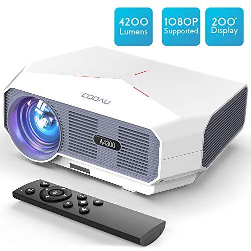 Projector, COOAU Movie Projector 4200LM with 200″ Display, 3000:1 Contrast HD Video Projector 1080P Supported, Hi-Fi Speakers, Compatible with TV Stick, Games, HDMI, USB, VGA, AV, 3.5Audio, etc.