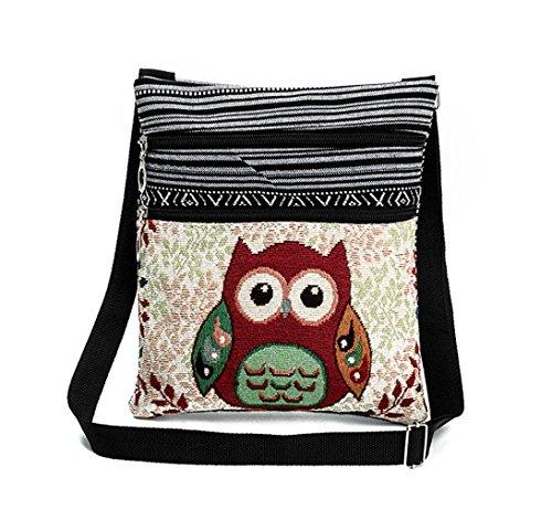 DNFC Umhängetasche Damen Tasche mit Zwei Innenfächer Kleine Tragetasche Schultertasche Retro Messenger Bag Shopper Vintage Handtasche für Frauen und Mädchen (Muster 1) Muster 2