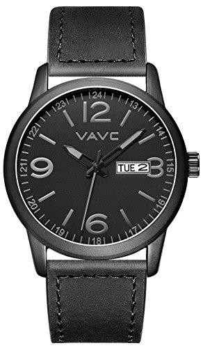 VAVC Men's Fashion Minimalist Casual Black Leather Band Analog Quartz Wrist Watch with Black Dial and Day Date Function