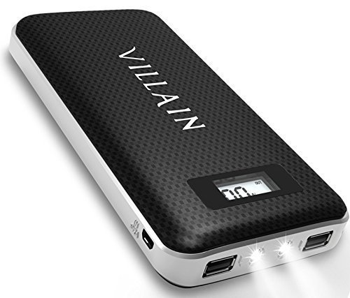 Villain - 20000mAh Portable Backup Battery Phone Charger - with Built in LED Flash Lights and LED Display - External Battery Pack with Dual USB Ports - Ideal Power Bank for iPhones, Androids, & More