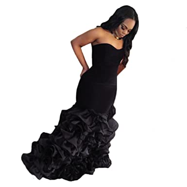 Tsbridal Mermaid Prom Dresses Sweetheart Velvet Prom Evening Dresses-US2