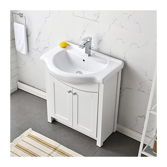 "RESSORTIR RES-BC019 Luxury Modern Bathroom Vanity with Ceramics Sink, 26"", White - Size: 26 in. W x 19 in. D x 37 Faucet and pop up drain not include Constructed in laminate composite wood - bathroom-vanities, bathroom-fixtures-hardware, bathroom - 51YefSDv tL. SS570  -"