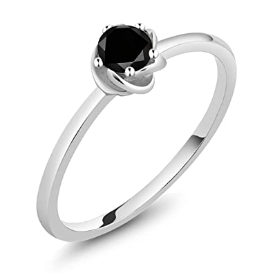 97dbeb6f41da7f Gem Stone King 10K White Gold Black Diamond Solitaire Engagement Ring 0.17 Ct  Round Cut (