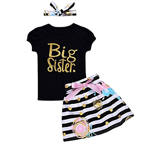 ViWorld Baby Girls Clothes Little Big Sister T-Shirt Romper Pant Set (Big Sister, 3-4T/120)