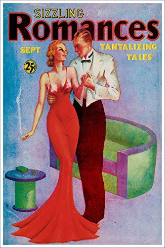 - September 1935 Sizzling Romances Tantalizing Tales Vintage Pulp Magazine Cover Retro Art Poster - 11x17