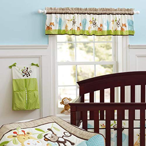 Brandream Window Valance Cotton Curtain for Baby/Toddler/Kid Bedroom Bath Laundry Living Room, Jungle Elephant Monkey Pattern ()