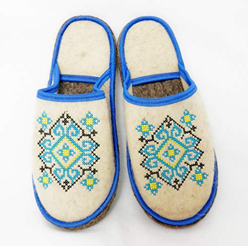 Mali Felt - PetriStor 100% Natural Wool Felt Sauna Banya Slippers Ukrainian Ornament Blue for Men Bathhouse/Vaporarium Made in Ukraine
