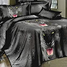 Anself 4pcs 3D Printed Bedding Comforter Set Bedclothes Black Tiger Queen/King Size Duvet Cover + Bed Sheet + 2 Pillowcases