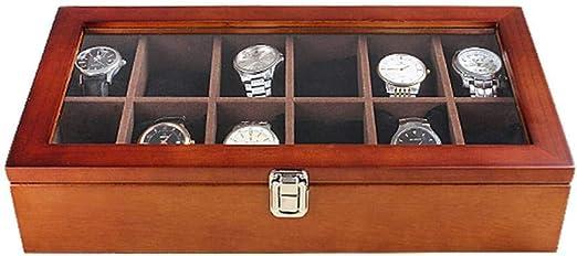 GOVD Caja Guardar Relojes Madera Almacenamiento de Relojes para ...