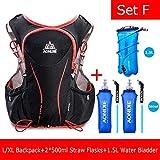 POJNGSN Hydration Pack Backpack Rucksack Bag Vest Harness Water Bladder Hiking Camping Running Race Sports 5L Set F