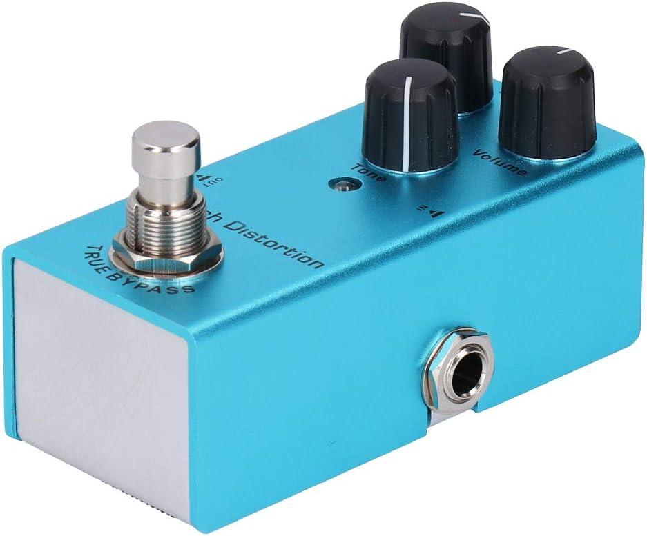 Pedal de efecto de guitarra eléctrica, aleación de aluminio Mini Pedal de efecto de guitarra True Bypass Adaptador DC9V Fuente de alimentación