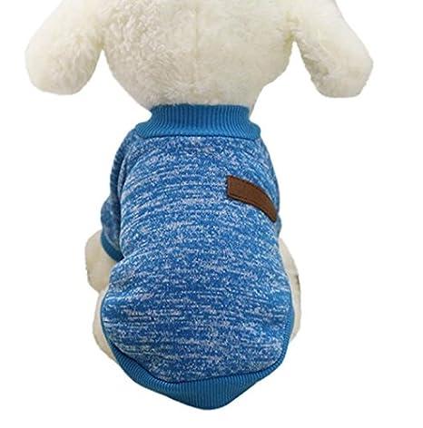 Beauty DIY Mart Caliente Ropa de Perros, Chaqueta Abrigo Cálido Suéter de Algodón de Invierno Otoño Suave para Perros Pequeños Gatos Cachorros Mascotas,Azul ...