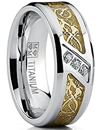 Men's Titanium Wedding Ring Engagement Band with Dragon Design and Cubic Zirconia, Comfort Fit