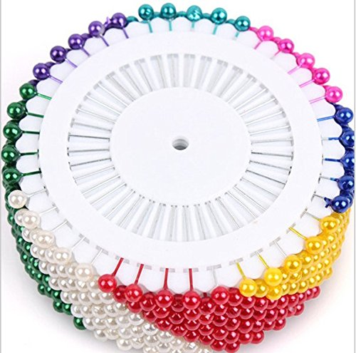 Head Pins / Push pins - 520 Pieces with Multi Color Plastic Round - Diamond Gold Pin Diaper