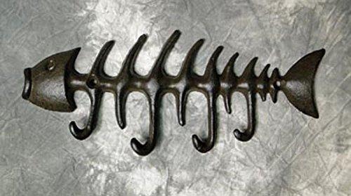 "Fish Bones Hooks | 8"" X 3.5"" | Cast Iron Wall Hanging"