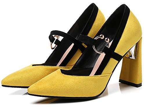 Idifu Mujeres Sweet Pull On Faux Suede Pointy Toe Alto Tacón Grueso Mary-jane Pumps Amarillo