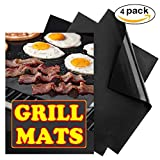 BBQ Grill Mat Set of 4, Heavy Duty, 100% Non stick, Easy to Clean and Reusable, Works on Gas Charcoal Electric Barbecue and Oven, Backing Mats Cooking Grill Mats 15.75 x 13 Inch Black
