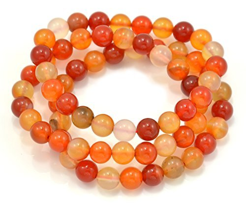 3 Red 10 Bracelet - Paialco 10mm Red Agate Gemstone Stretch Beaded Bracelet, Pack of 3