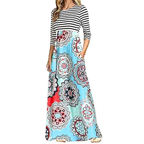 - Anxinke Women Long Sleeve Stripes Round Neck Bohemian Empire Waist Casual Maxi Dresses (M, Light Blue)