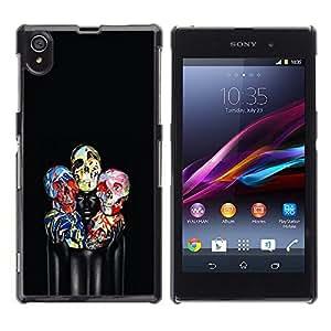 """For Sony Xperia Z1 Case , Paint Cráneo floral Negro profundo Mujer"""" - Diseño Patrón Teléfono Caso Cubierta Case Bumper Duro Protección Case Cover Funda"""